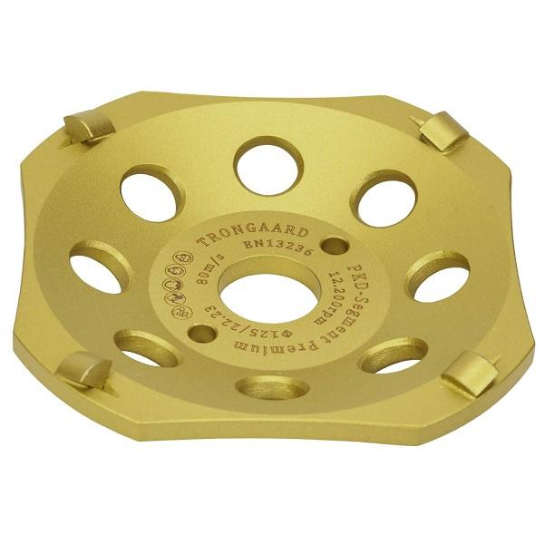 TRONGAARD PREMIUM PKD PCD Schleiftopf/Schleifteller 125MM / 22,23MM GOLD